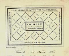 """PARIS INDUSTRIE FACTURE """"RATTIER ET CIE"""" CAOUTCHOUC GUTTA PERCHA  1860 à DORE CHEVE LE MANS VOIR HISTORIQUE - 1800 – 1899"""