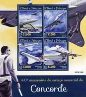 40e Anniversaire Du Service Commerciale CONCORDE -   S.Tomé E Principe 2016 4v Sheet Neuf/Mint/MNH - Concorde