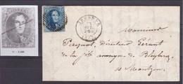 N° 11 VARIETE GRIFFE A TRAVERS L EFFIGIE / Lettre De Jemeppe Vers Montzen Lac 29 Avril 1863  Rare - 1858-1862 Medaillen (9/12)