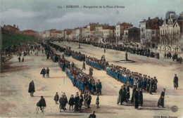 26 DROME Revue Militaire Sur La Place D'Armes De ROMANS Carte Glacée Colorisée - Romans Sur Isere