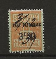 FISCAUX  FRANCE SOCIO-POSTAUX D'ALSACE LORAINNE N°140   3F30 Sur 6F60 Orange Sur Verdatre Cote 25€ - Revenue Stamps