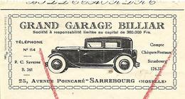 2 Lettres De Change 1937 / 57 SARREBOURG / Grand Garage BILLIAR - Lettres De Change
