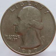 United States Of America 25 Cents 1967 XF / UNC - 1932-1998: Washington