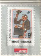 Calendrier De La Poste Belge 1989. Dessins: Néron, Lagaffe, Tintin, Schtroumpfs, Natacha, Boule Et Bill, Bobette. - Calendriers