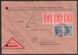 SBZ Berliner Bär Stadt Berlin Nachnahme-Bf Berlin Charlottenburg 8 Pf.(3) Und 20 Pf.(2) Nach Pirna, MWSt. Und OSt. - Zone Soviétique