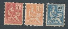 DE-63: FRANCE: Lot Avec  N°116/118* (*propres) - 1900-02 Mouchon