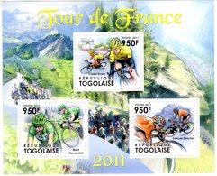 Tour De France  -  Cadel Evans-Mark Cavendish-Samuel Sanchez  -    Togolaise 2011 3v Sheet Neuf/Mint/MNH - Cyclisme