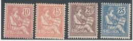 DE-65: FRANCE: Lot Avec  N°124/127* (* Propres) - 1900-02 Mouchon
