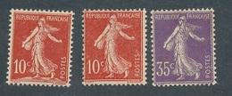 DE-67 FRANCE: Lot Avec  N°134/136* (* Propres) - 1906-38 Semeuse Con Cameo
