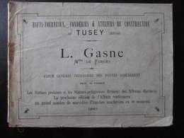 CATALOGUE - FONDERIES DE TUSEY - L. GASNE - FONTES D'ORNEMENT - 1887 - 1800 – 1899