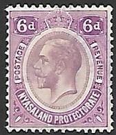 Nyasaland  1921   Sc#31  6d  MNH  2016 Scott Value $5 - Nyasaland (1907-1953)