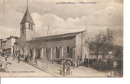 RHONE  COURS  L'EGLISE ET LA PLACE ANIMEE ECRITE - Cours-la-Ville