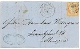 40 C Siège De Paris Gare De Cette (Hérault) Pour L'Allemagne 1873 - Marcophilie (Lettres)