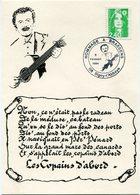 FRANCE CARTE POSTALE HOMMAGE A BRASSENS AVEC OBLITERATION ILLUSTREE SIGNY-L'ABBAYE 5 FEVRIER 1994 - Sänger