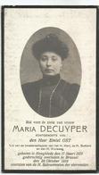 DECUYPER Maria °1879 Hooglede +1918 Brussel Echt. OST Emiel Doodsprentje Image Mortuaire Funeral Card Immaginetta - Religion & Esotérisme