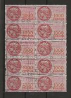 FISCAUX DE FRANCE SERIE UNIFIEE N°52 1000F Rose Bloc De 10 Timbres Oblitérés Cote Y Et T 2016  300€; - Revenue Stamps