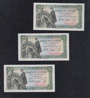 ESPAÑA.  EDIFIL  449a.  5PTAS 15 DE JUNIO DE 1945 SERIE D.  TRÍO CORRELATIVO. - 5 Pesetas