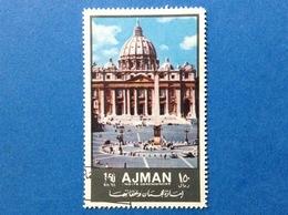 1972 AJMAN EDIFICI STORICI TURISMO PIAZZA S PIETRO 1.50 R FRANCOBOLLO USATO STAMP USED - Ajman