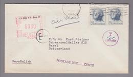 Motiv Chemie Firmenfreistempel 30 Rp. J.R.Geigy AG Basel Als Nachporto Auf Taxiertem Airmailbrief Aus USA - Usines & Industries