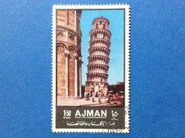 1972 AJMAN EDIFICI STORICI TURISMO TORRE DI PISA 1.50 R FRANCOBOLLO USATO STAMP USED - Ajman