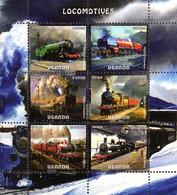 Uganda Block Eisenbahn Dampflokomotiven Gezähnt  ** / MNH - Treni