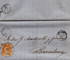 Año 1860 Edifil 52 4c Isabel II Carta Matasellos Rueda De Carreta 6 Malaga - Gebruikt