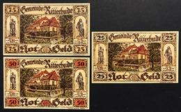 GERMANIA ALEMANIA GERMANY Notgeld Ritterhude 25 50 75  Pfennig 1921 ( 3 Pz ) Lotto 1940 - [ 3] 1918-1933 : República De Weimar