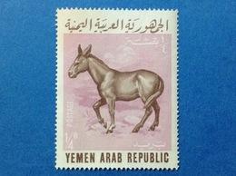 1966 YEMEN ARAB REPUBLIC ANIMALI DOMESTICI ASINO 1/4 B FRANCOBOLLO USATO STAMP USED - Yemen