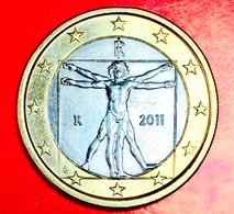ITALIA - 2011 - Moneta - Proporzioni Ideali Del Corpo Umano, Disegno Di Leonardo Da Vinci - Euro 1.00 - Italia