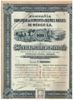 Titre Ancien - Compañia Bancaria De Fomento Y Bienes Raices De Mexico - Sté Foncière Du Mexique - Titulo De 1910 - Banque & Assurance