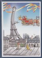 = Le Père Noël Porte Un Cadeau à La Tour Eiffel, Carte Postale Neuve Philapostel 2019, Création Bernard Veyri - Weihnachten