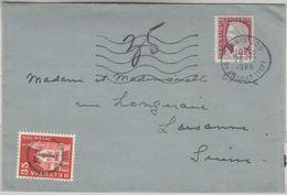 Schweiz/Frankreich - 35 Rp. Bauwerke, Nachportomarke Brief Paris - Lausanne 1960 - Portomarken