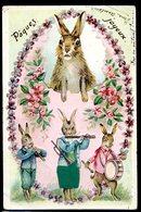 Cpa Lapins Habillés Humanisés Jouant De La Musique -- Pâques Joyeux -- Cpa Gaufrée  LZ94 - Animali Abbigliati