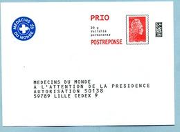 Marianne L'Engagée PRIO  Médecins Du Monde LOT 237906 - Entiers Postaux
