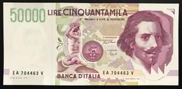 50000 Lire BERNINI II° TIPO SERIE A 1992 Spl  LOTTO.2011 - [ 2] 1946-… : Repubblica