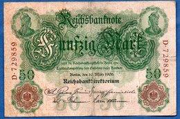 Allemagne -  50 Mark  1906 - état  TB - 50 Mark