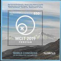 ARMENIA, 2019, MNH, WORLD CONGRESS ON INFORMATION TECHNOLOGY. MOUNTAINS, S/SHEET - Informatica