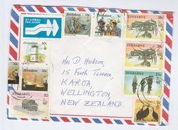 1995 ZIMBABWE COVER Stamps CYCLING, BUS, MINING, BIRD, TRUCK To New Zealand  Bike Bicycle Minerals Birds Bus - Zimbabwe (1980-...)