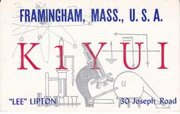 1964 QSL CARD K1YUI  Framingham Massachusetts USA To Germany, Stamps Cover Radio Card Postcard - Radio Amatoriale