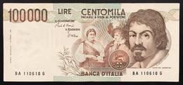 100000 Lire CARAVAGGIO 1° TIPO SERIE A 1983 Bb+ LOTTO 2049 - [ 2] 1946-… : Repubblica