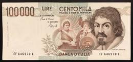 100000 Lire Caravaggio I° Tipo 1993 F  Q.spl Biglietto Naturale  LOTTO 2085 - [ 2] 1946-… : República