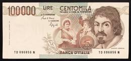 100000 Lire CARAVAGGIO 1° TIPO SERIE D 1990 Q.spl LOTTO 2266 - [ 2] 1946-… : Républic