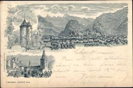 Lithographie Sion Sitten Wallis Schweiz, Vue Generale, Tour Des Sorciers, Mont Valere, Cathedrale - VS Valais