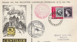 Luxembourg Lettre Vol Par Hélicoptère Pour Strasbourg 1952 - Luxemburg
