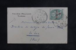 MAROC - Petite Enveloppe Du Collège De Tanger Pour Le Luc En 1910, Affranchissement Blanc Surchargé - L 48411 - Covers & Documents