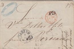 LETTRE DANMARK. 9 4 1852. JULES WANDEL COPENHAGUE. POUR BORDEAUX PAR HAMBURG ET PARIS. ENTREE TOUR-TAXIS VAL - Danimarca