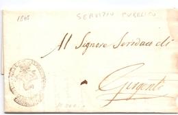 1848 Prefilatelica -SERVIZIO PUBBLICO - Con Interes. Stemma Della TRINACRIA - Per GIRGENTI -franc - 1. ...-1850 Prefilatelia