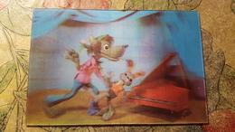 Old USSR  Postcard -  NU POGODI  - STEREO 3D PC - Old Cartoon 1974 - Wolf Hare Piano Tango - Stereoscopische Kaarten