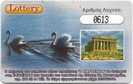Greece - Amimex - Lottery Card, Swans & Parthenon - Remote Mem. 5U, 04.2006, 1.000ex, Mint - Griechenland