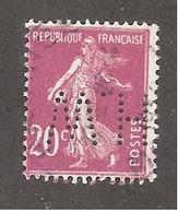 Perfin/perforé/lochung France No 190 H.W Les Petits Fils De F. De Wendel - France